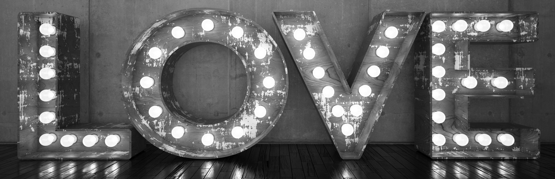 love sign with light bulbs